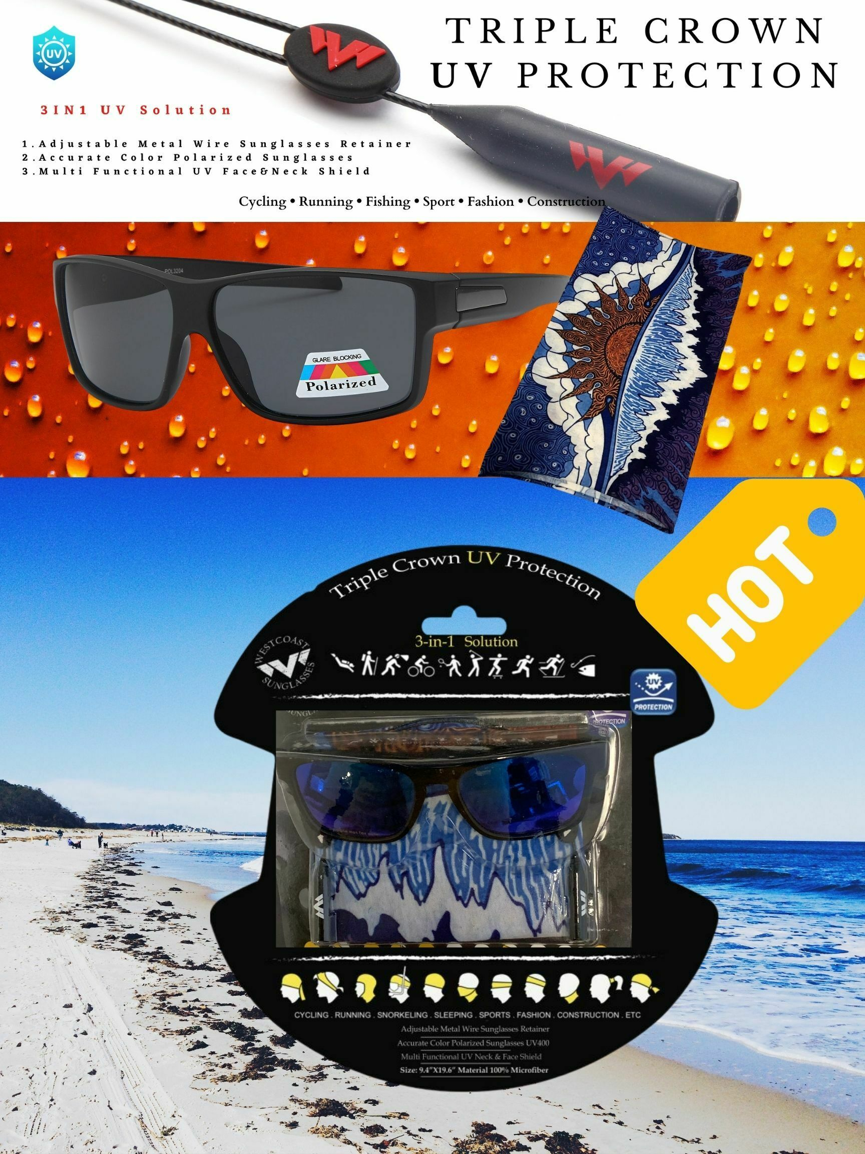 face shield and polarized sunglasses